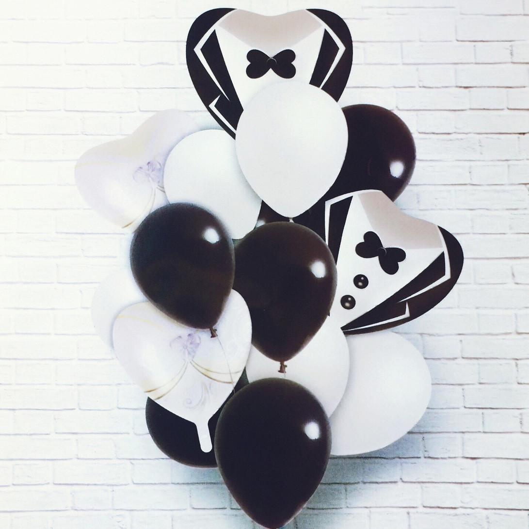 Набор надувных фольгированных шаров свадьба