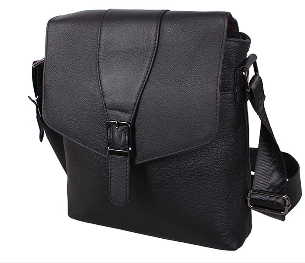 Мужская кожаная сумка Dovhani R0055 Черная Ш24хВ26хГ6-8 см