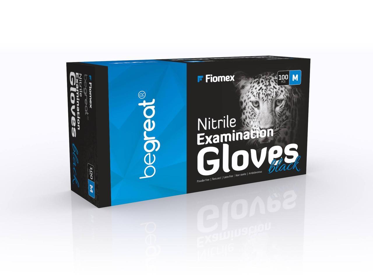 Рукавички нітрилові Fiomex Black, premium - 100 шт/уп, M