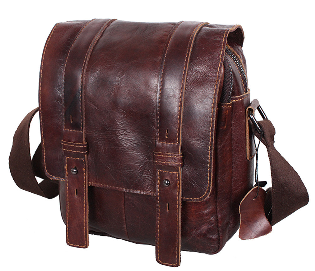 Мужская кожаная сумка Dovhani PRE1540-123 Коричневая