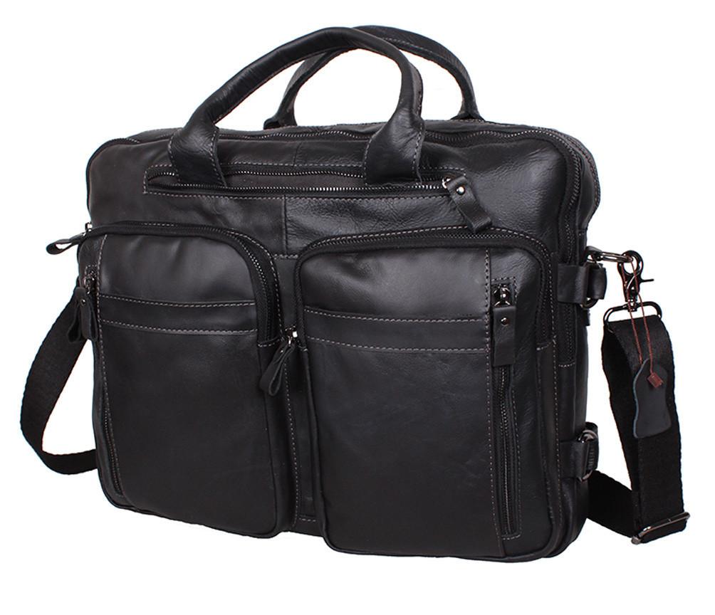 Мужская кожаная сумка Dovhani PRE171051 Черная 39 х 21 х 10-17см