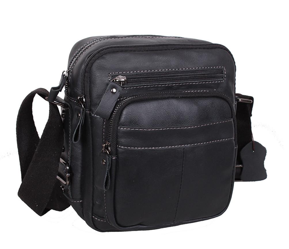 Мужская кожаная сумка Dovhani PRE526223 Черная