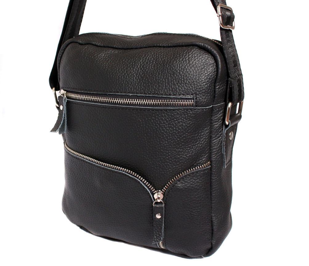 Мужская кожаная сумка Dovhani KT30012147 Черная 28x23x9см
