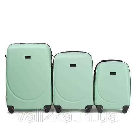 Набор чемоданов пластиковых 3 шт малый, средний, большой Wings светло-зеленый, фото 2