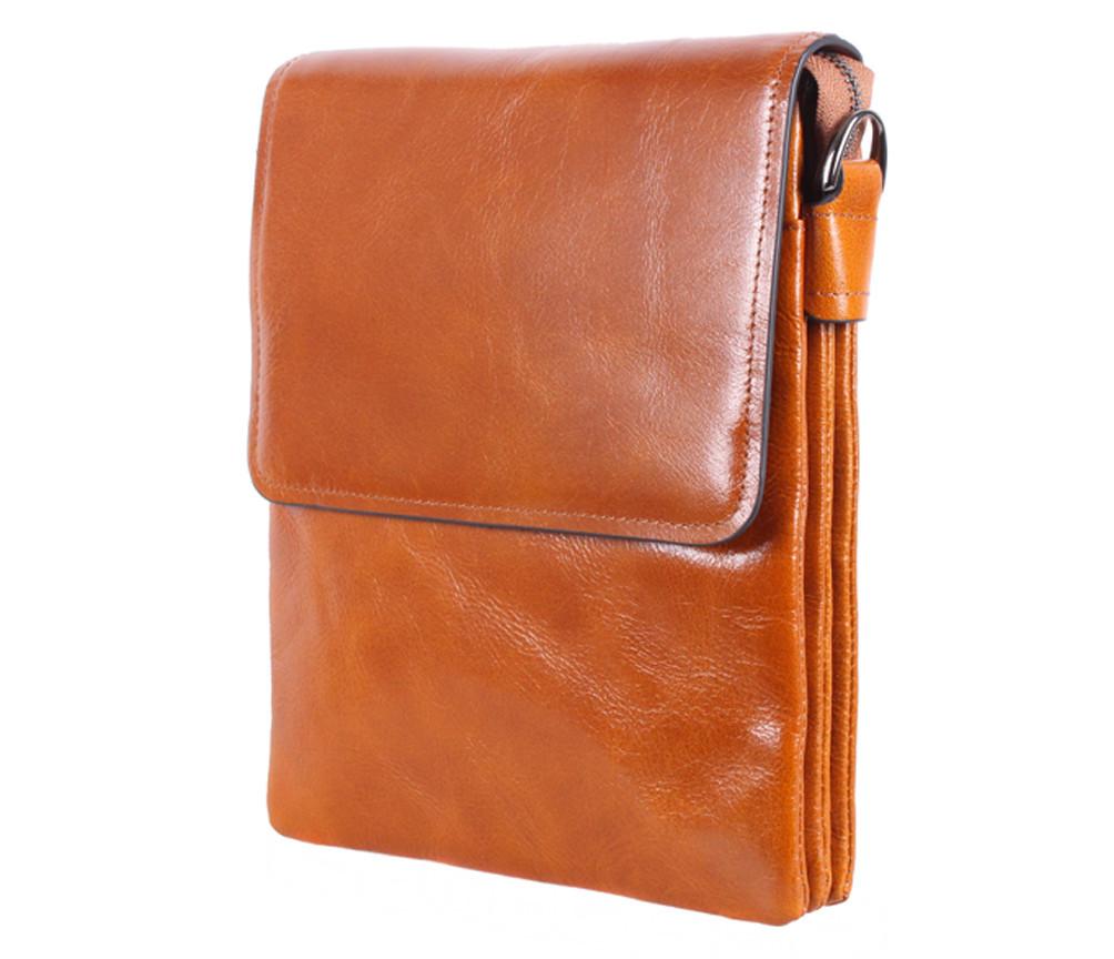 Мужская кожаная сумка Dovhani WHEAT007-55 Рыжая В26 х Ш21,5 х Г7 см