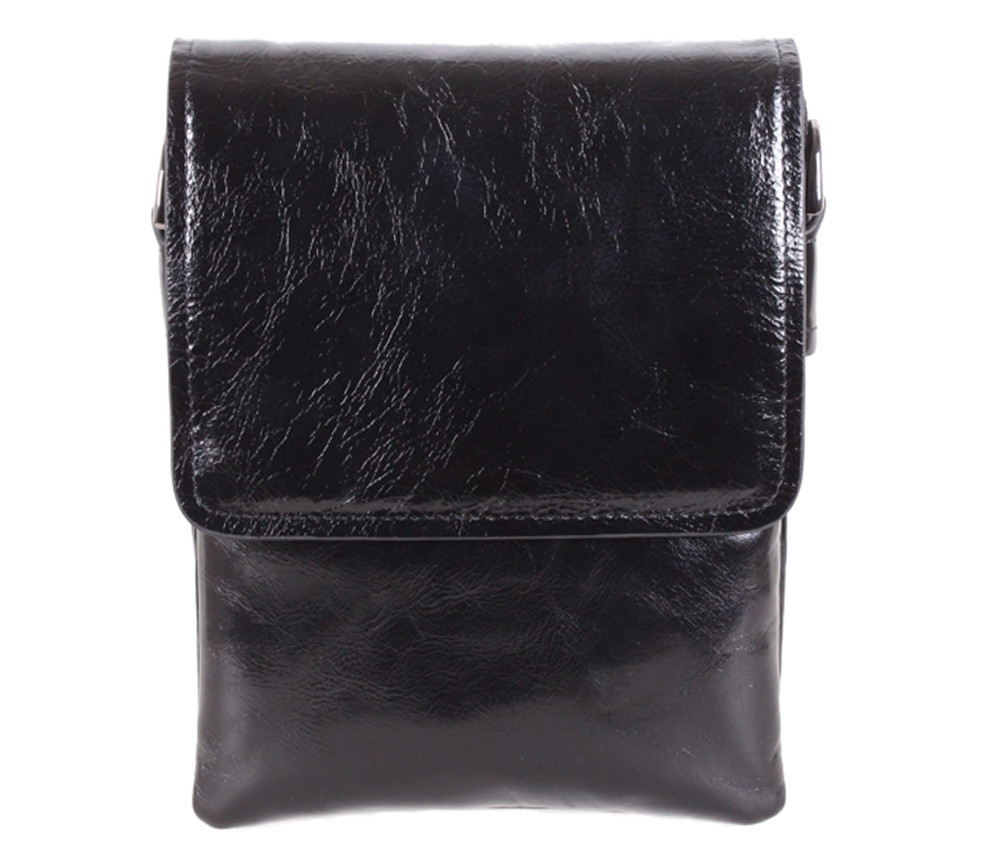 Мужская кожаная сумка Dovhani DL008-445 Черная В20 х Ш16,5 х Г5см