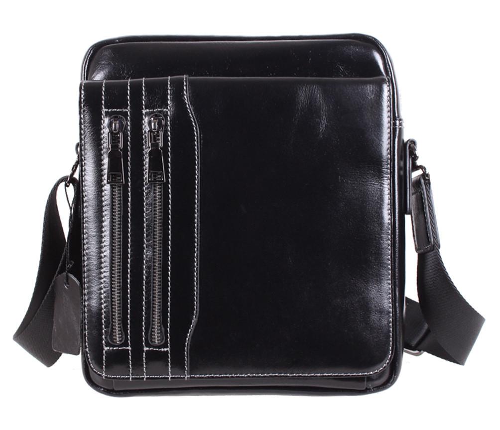 Мужская кожаная сумка Dovhani DL5156-339 Черная 26 х 21 х 7см