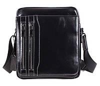 Мужская кожаная сумка Dovhani DL5156-339 Черная 26 х 21 х 7см, фото 1