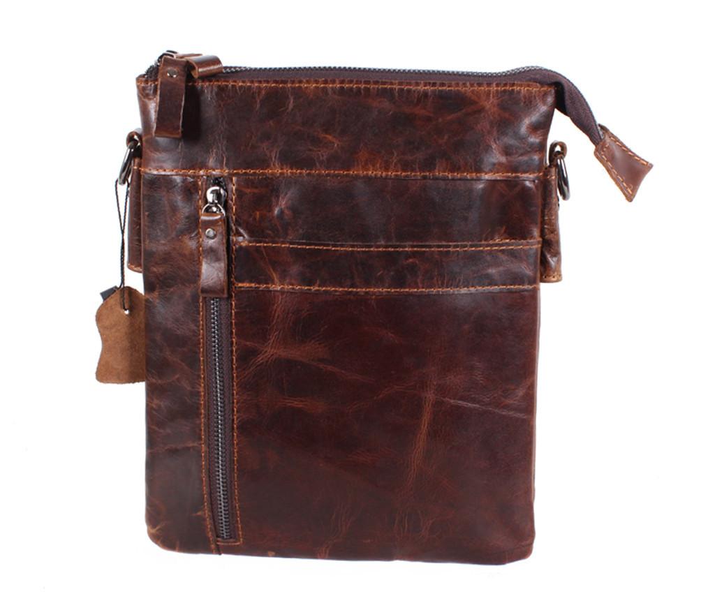 Мужская кожаная сумка Dovhani BB101010 Коричневая