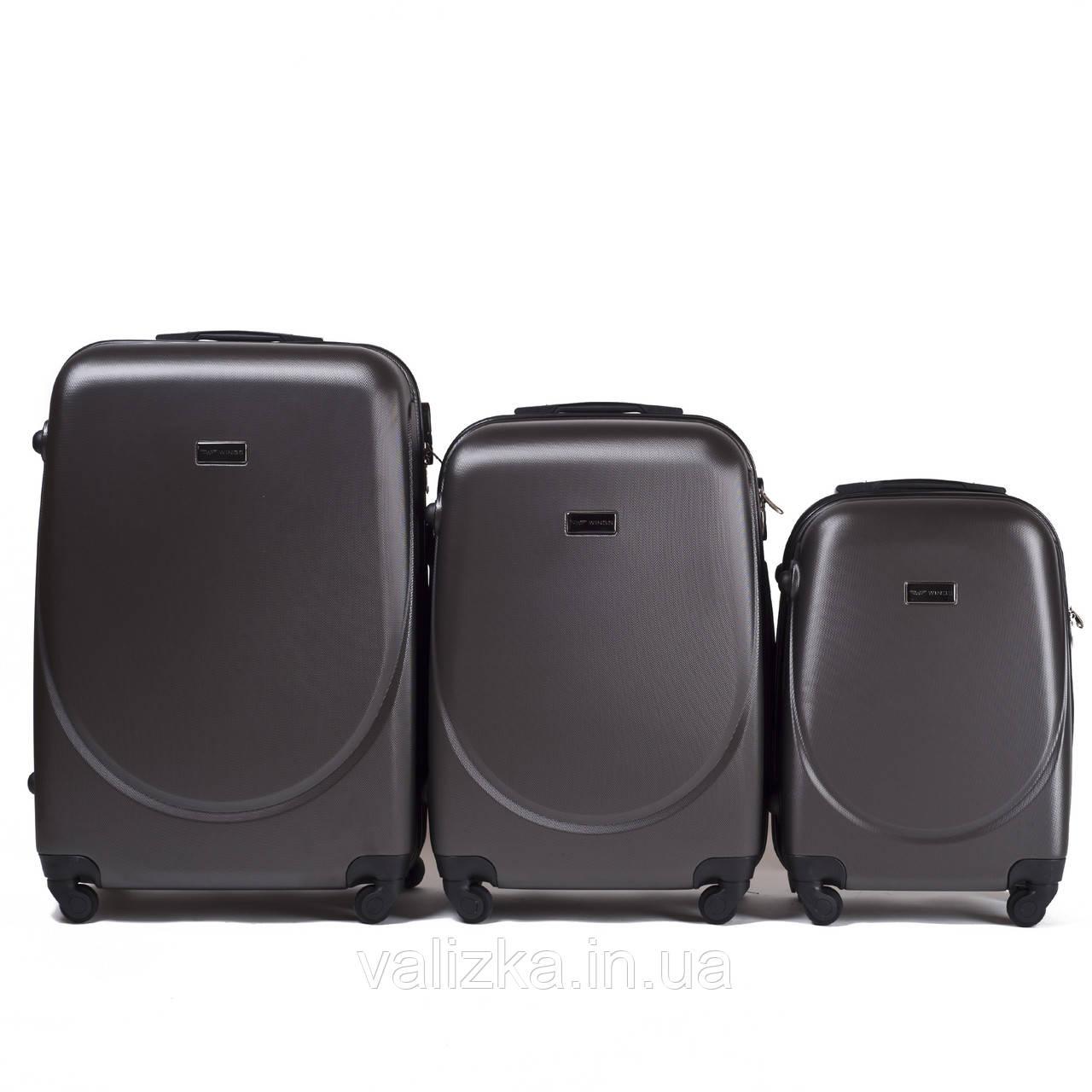 Набір валіз пластикових 3 шт малий, середній, великий Wings темно-сірий