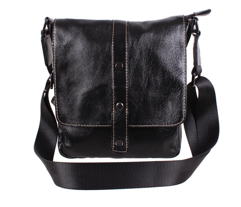 Мужская кожаная сумка Dovhani BL800667 Черная