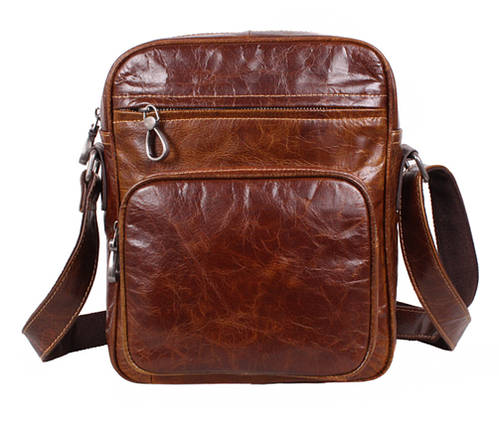 Мужская кожаная сумка Dovhani LA3225-235 Коричневая, фото 2