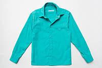Рубашка для мальчика мятная с длинным рукавом р.128,140,152 SmileTime на кнопка