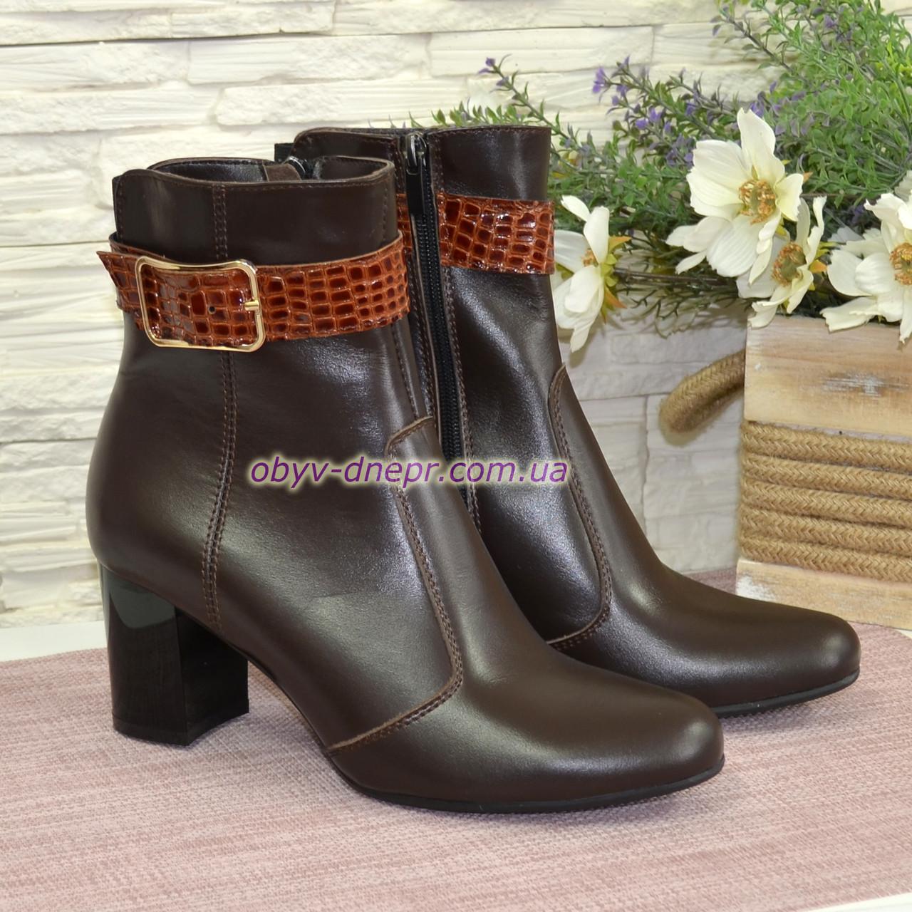 """Ботинки зимние кожаные, декорированы ремешком из натуральной кожи """"крокодил"""""""