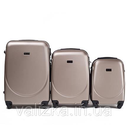 Набір валіз пластикових 3 шт малий, середній, великий Wings шампань, фото 2