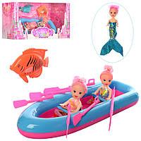 Кукла 66821 (48шт) 3шт(1-русалка), 10см, лодка 28см, рыбка 8см, в кор-ке, 32-16-11см