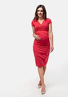 Платье-футляр для беременных и кормящих (красный), фото 1
