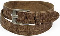 Мужской ремень под рептилию, кожа, Vanzetti, Германия, 100053 коричневый, 3,5х117 см