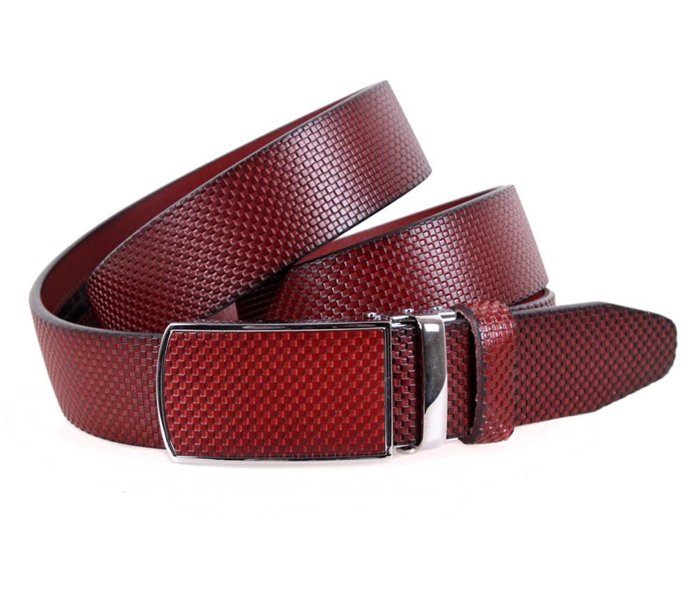 Мужской кожаный ремень Dovhani MGA101-880 105-125 см Бордовый, фото 1