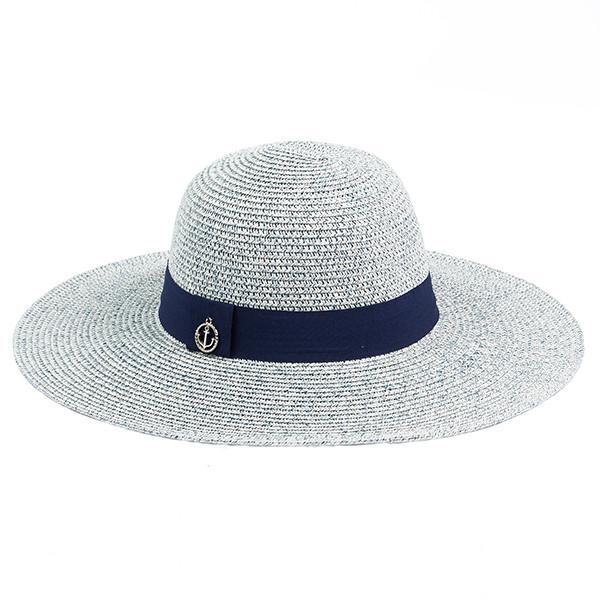 Летняя женская  шляпка  украшена синей лентой цвет серо синий меланж