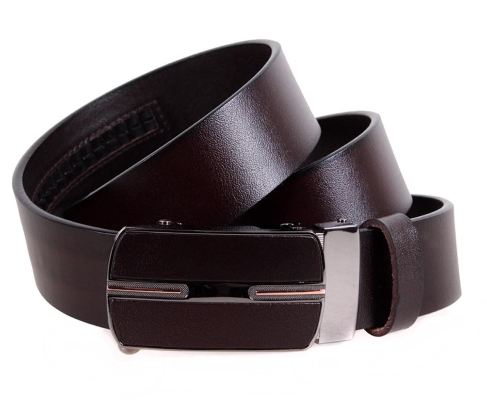 Мужской кожаный ремень Dovhani MGA101-1515 105-125 см Коричневый
