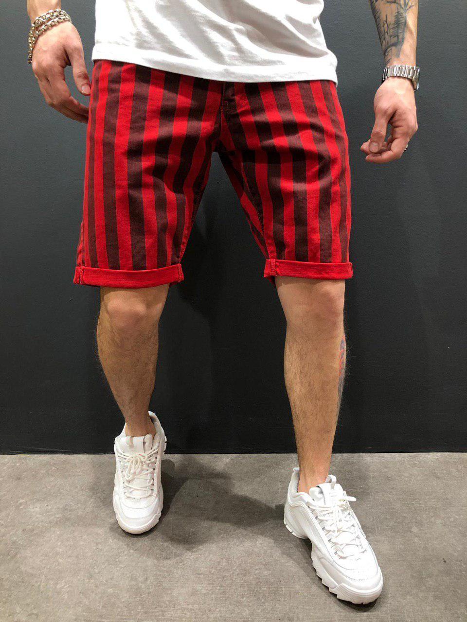 Чоловічі джинсові шорти червоні в смужку