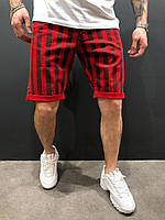 Чоловічі джинсові шорти червоні в смужку, фото 1
