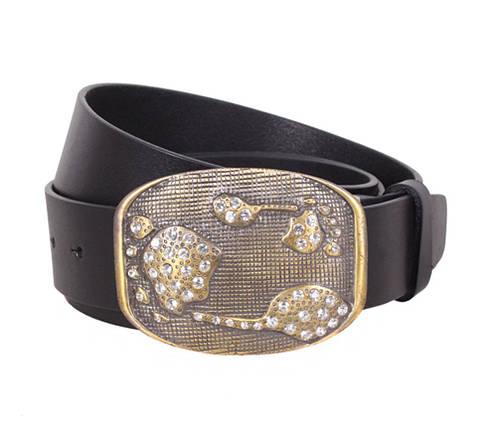 Женский кожаный ремень Dovhani QS2203-556 115-125 см Черный, фото 2