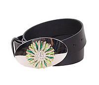 Женский кожаный ремень Dovhani QS2203-988 115-125 см Черный