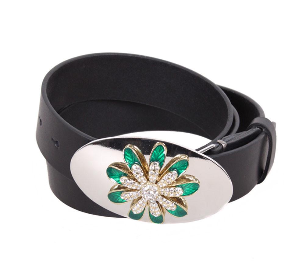 Женский кожаный ремень Dovhani QS2203-2828 115-125 см Черный