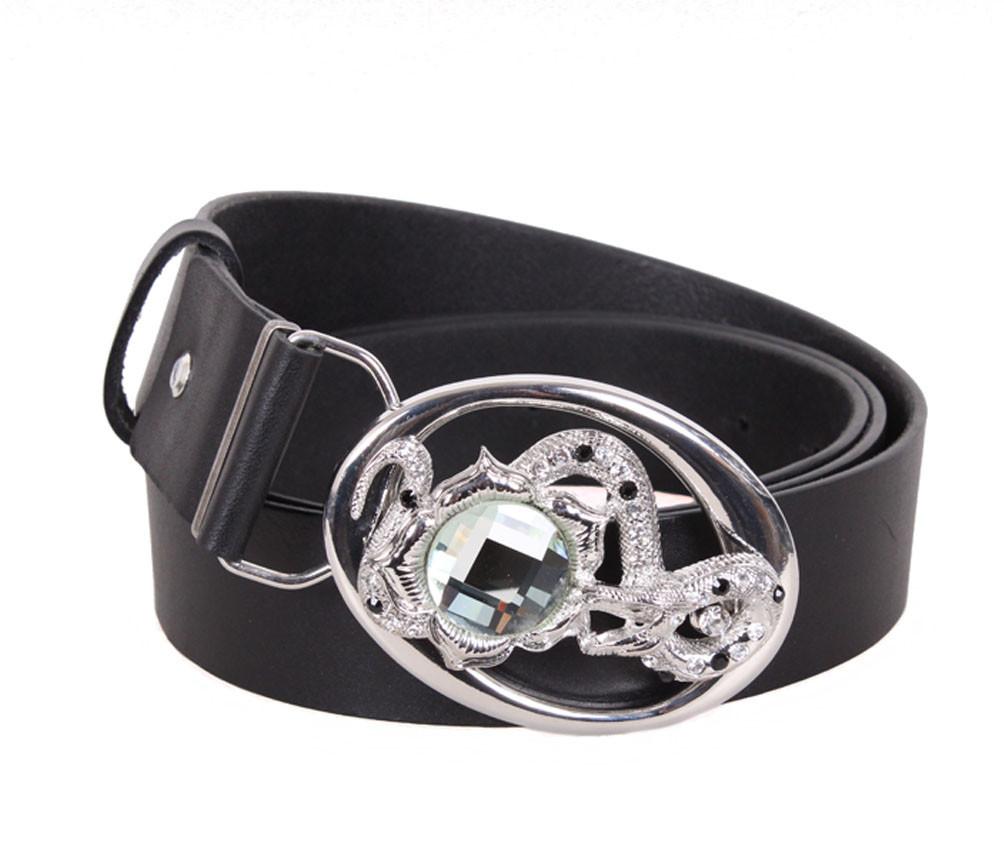 Женский кожаный ремень Dovhani QS2203-5454 115-125 см Черный