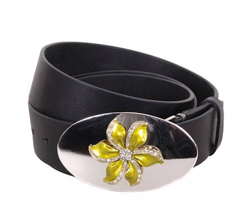 Женский кожаный ремень Dovhani QS2203-6767 115-125 см Черный, фото 2