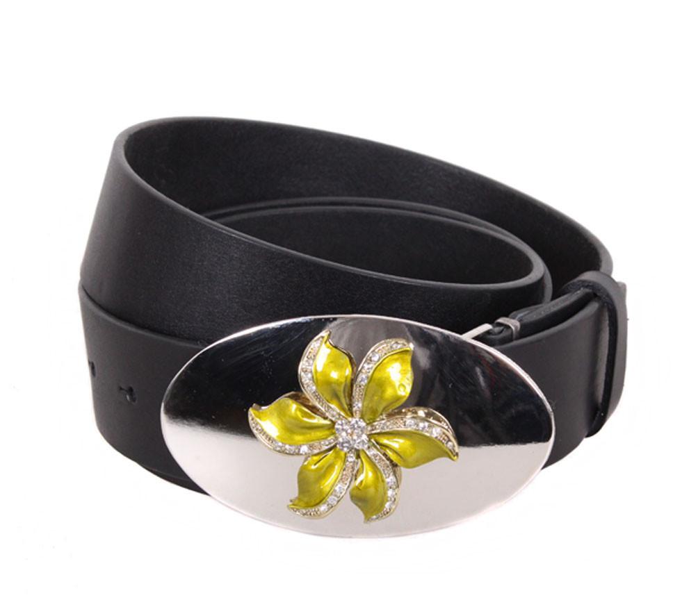 Женский кожаный ремень Dovhani QS2203-6767 115-125 см Черный