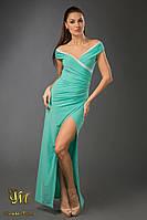 В877 Вечернее платье в пол из масла с кружевом