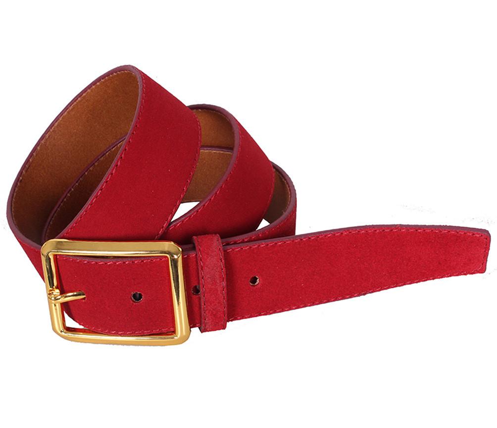 Мужской замшевый ремень Dovhani Z505-199441 115-125 см Красный