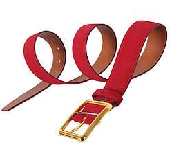 Мужской замшевый ремень Dovhani Z505-199441 115-125 см Красный, фото 2