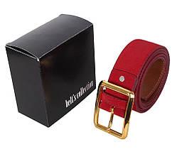 Мужской замшевый ремень Dovhani Z505-199441 115-125 см Красный, фото 3