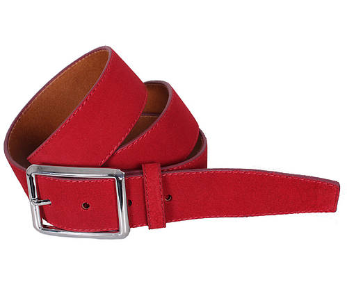 Мужской замшевый ремень Dovhani Z509-199159 115-125 см Красный, фото 2