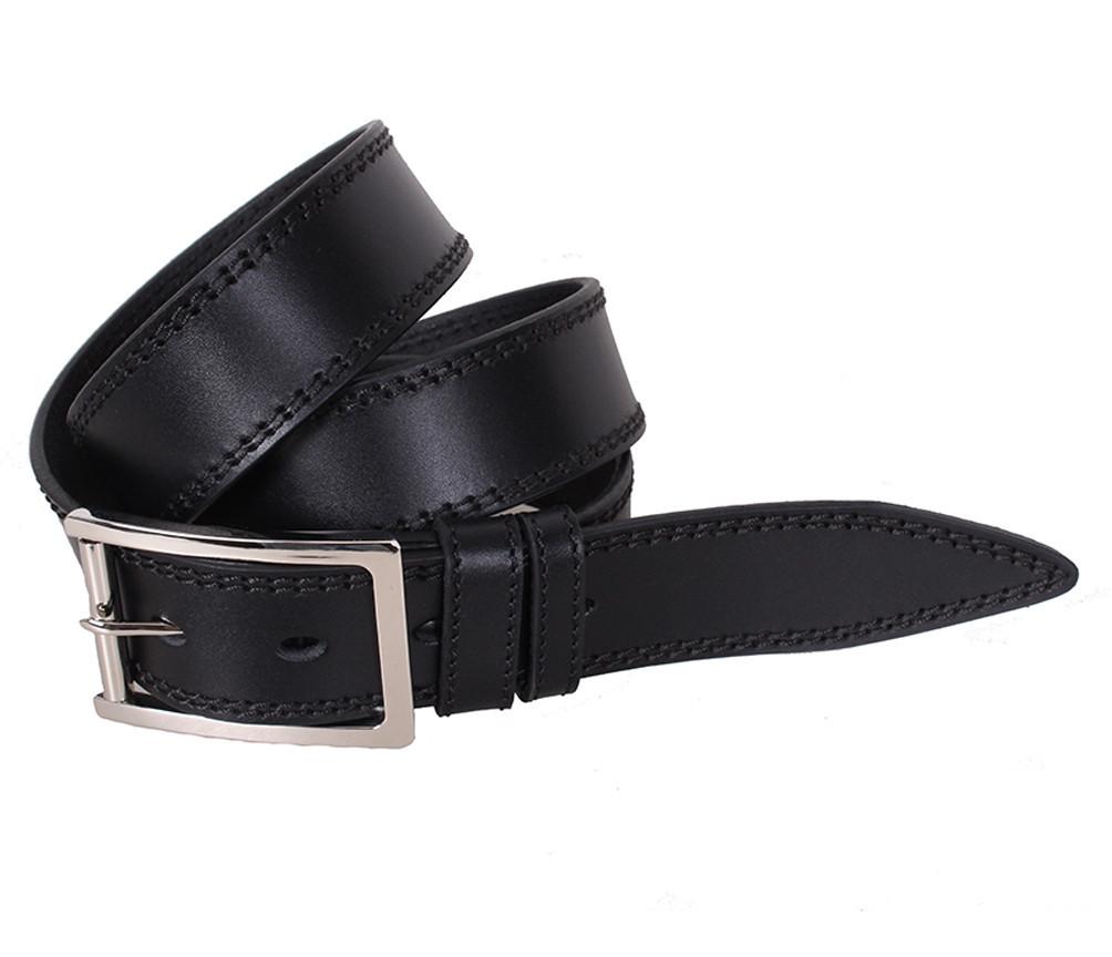 Мужской кожаный ремень Dovhani LP606-19913 115-125 см Черный