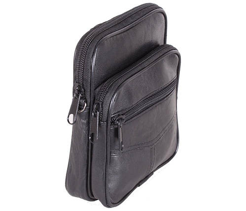 Мужская кожаная сумка Dovhani BL30370227 Черная, фото 2