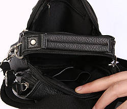 Мужская кожаная сумка Dovhani BL3011634 Черная, фото 3