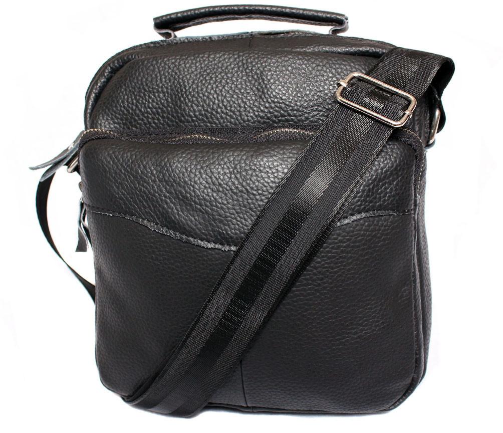 Мужская кожаная сумка Dovhani BL30012437 Черная 27 x 25 x 9 см