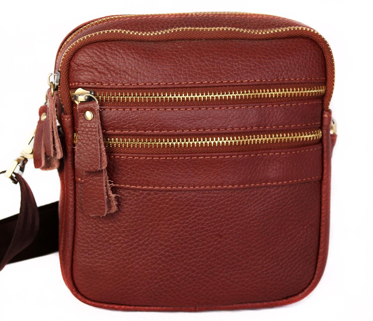 Мужская кожаная сумка Dovhani BL3010938 Рыжая 19 x 17 x 8 см