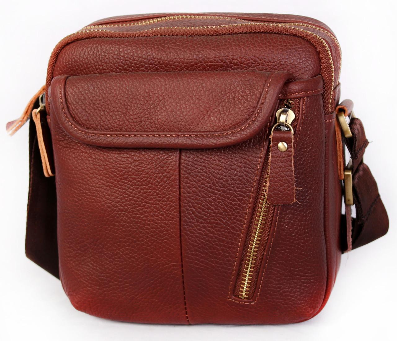 Мужская кожаная сумка Dovhani BL3011439 Рыжая, фото 1