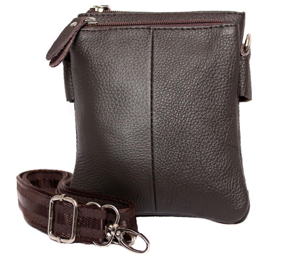 Мужская кожаная сумка Dovhani BL30014241 Черная 18 x 14 x 4 см