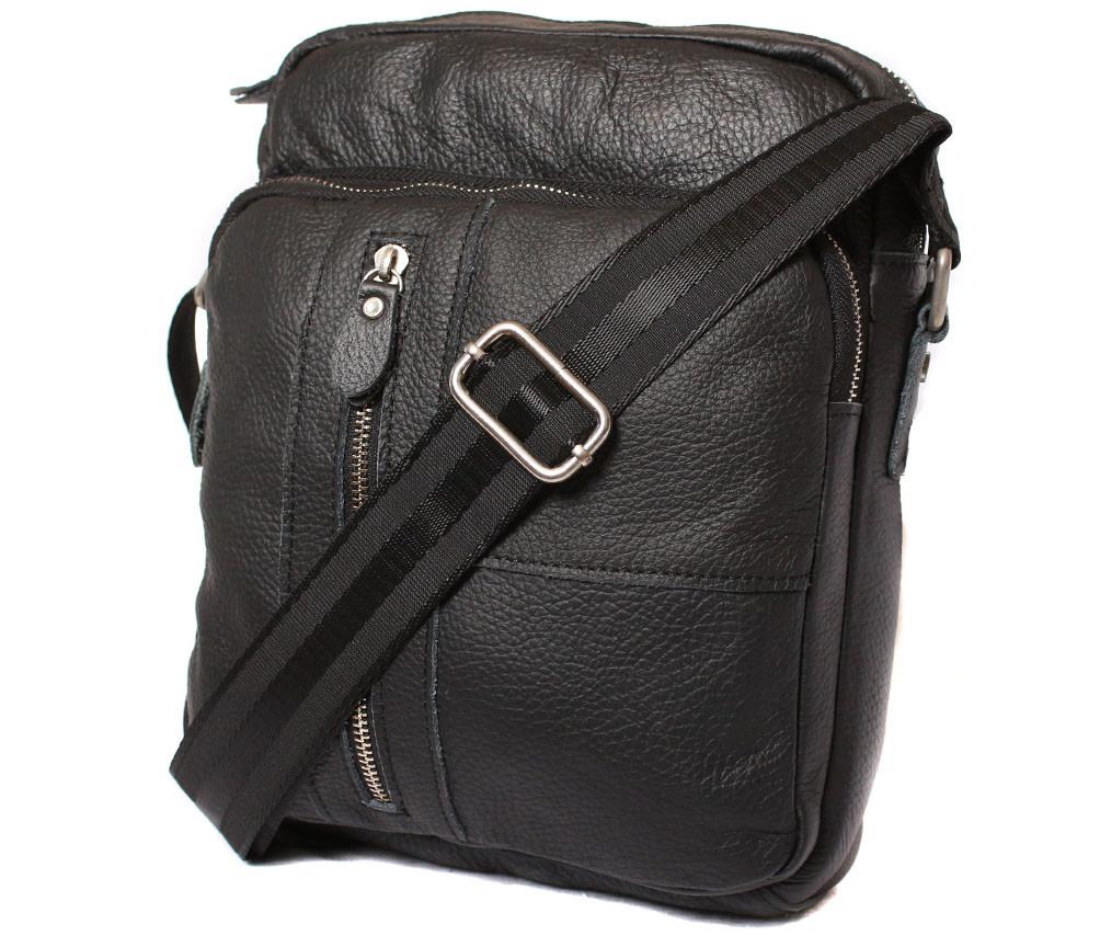 Мужская кожаная сумка Dovhani BL30012347 Черная 27 x 24 x 8 см.