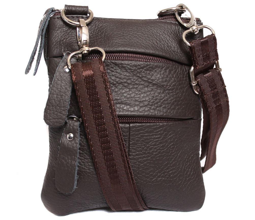Мужская кожаная сумка Dovhani BL30015048 Коричневая 17 x 14 x 4 см