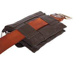 Мужская кожаная сумка Dovhani BL30014652 Коричневая 15 x 17 x 4 см., фото 3
