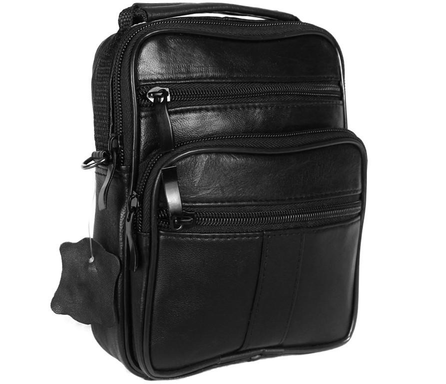 Мужская кожаная сумка Dovhani BL3016156 Черная 19 x 15 x 7 см