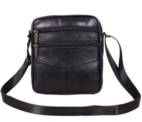 Мужская кожаная сумка Dovhani SW38859 Черная, фото 2
